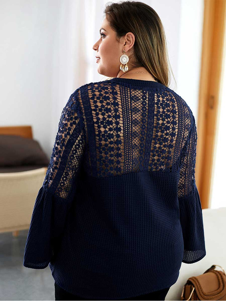 Elegant Top Shoulder Perspective Solid Color Knitted Shirt