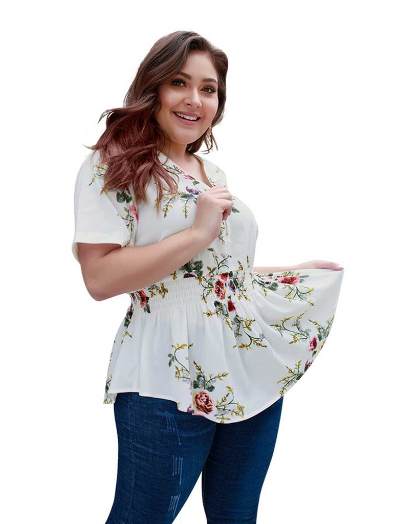Plus Size Top V-neck Print Waist Slim Blouse