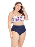 Plus Size Bikini Two-piece Ruffled Floral Swimwear