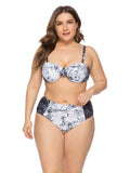 Plus Size Two-piece Swimwear Marble Print Bikini