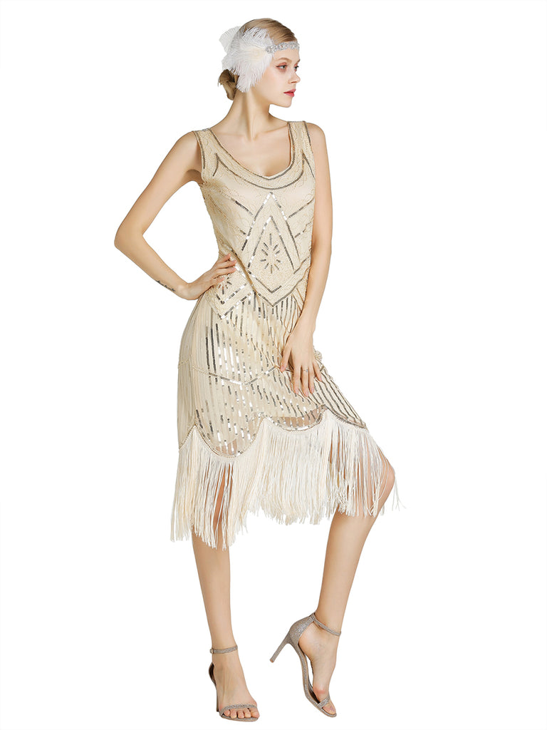 Vintage Fringe Flapper Dress With Sequin Beads