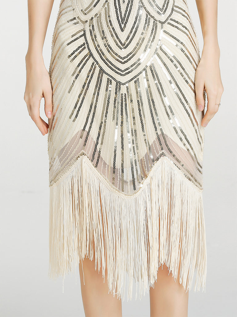 1920s Sequin Fringed Latin Dance Dress