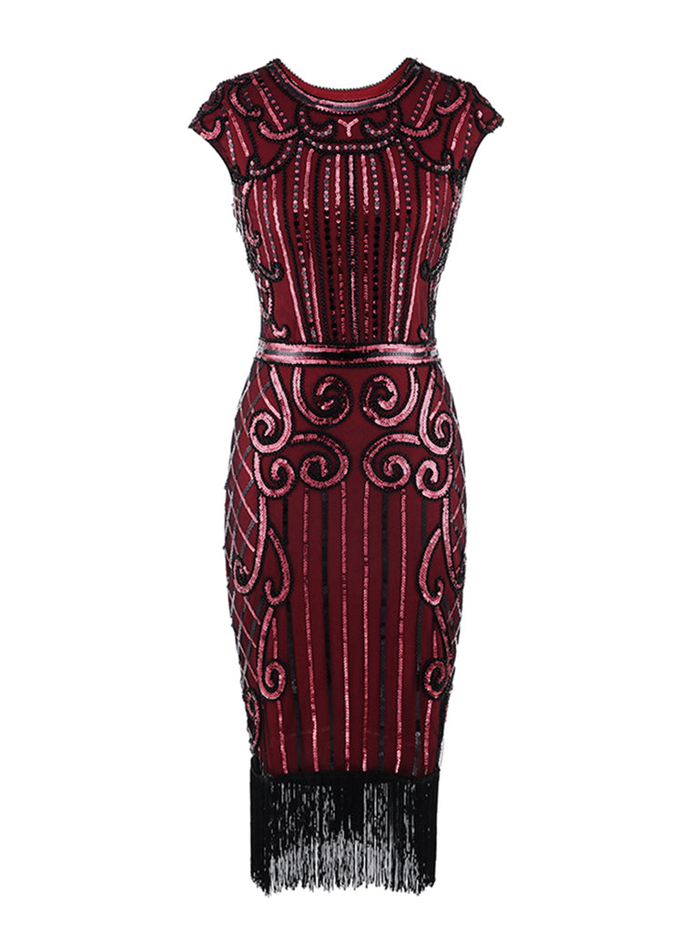 1920s Sequin Fringe Latin Dance Dress