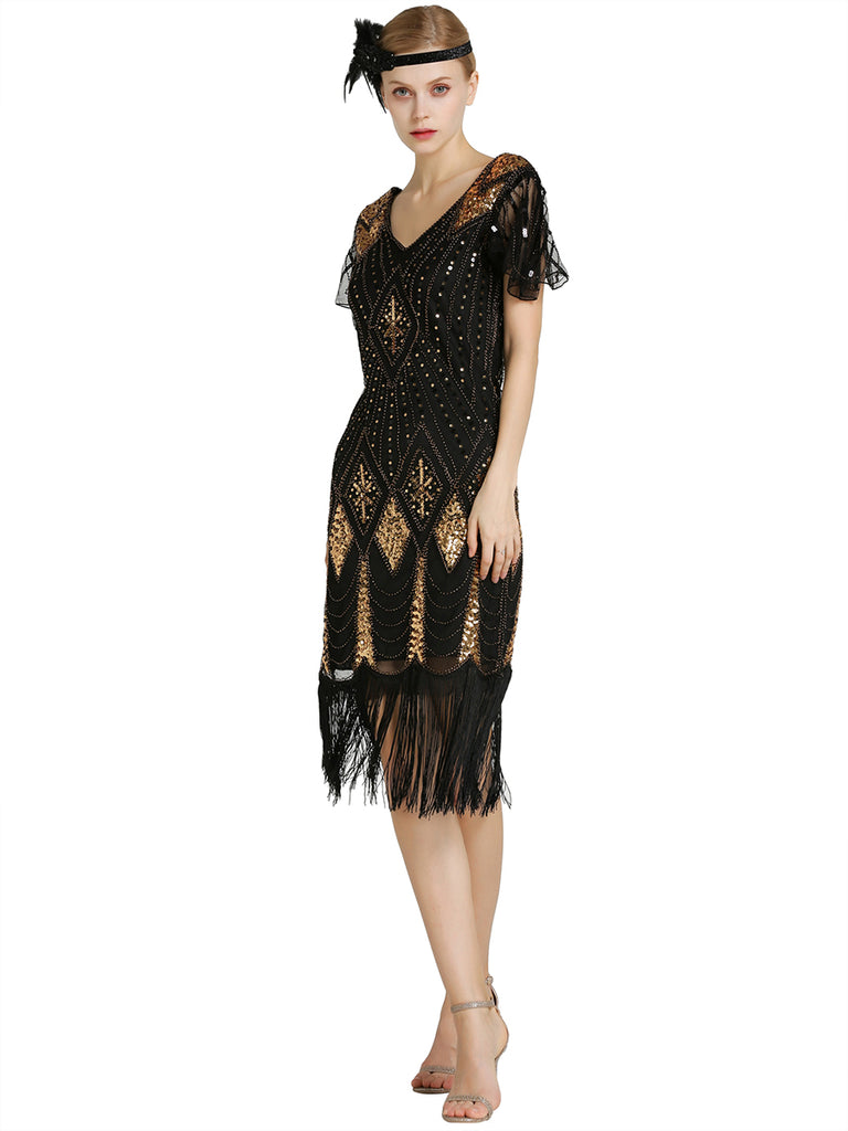 1920s Sequin Flapper Vintage Dress