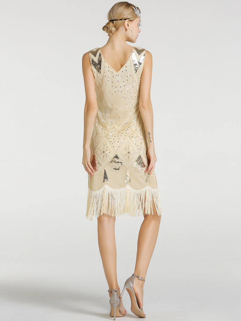 Womens 1920s Sequin Fringe Latin Dress
