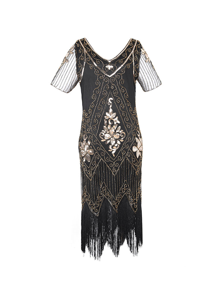 1920s Dress Gorgeous V-neck Sequined Slim Dress