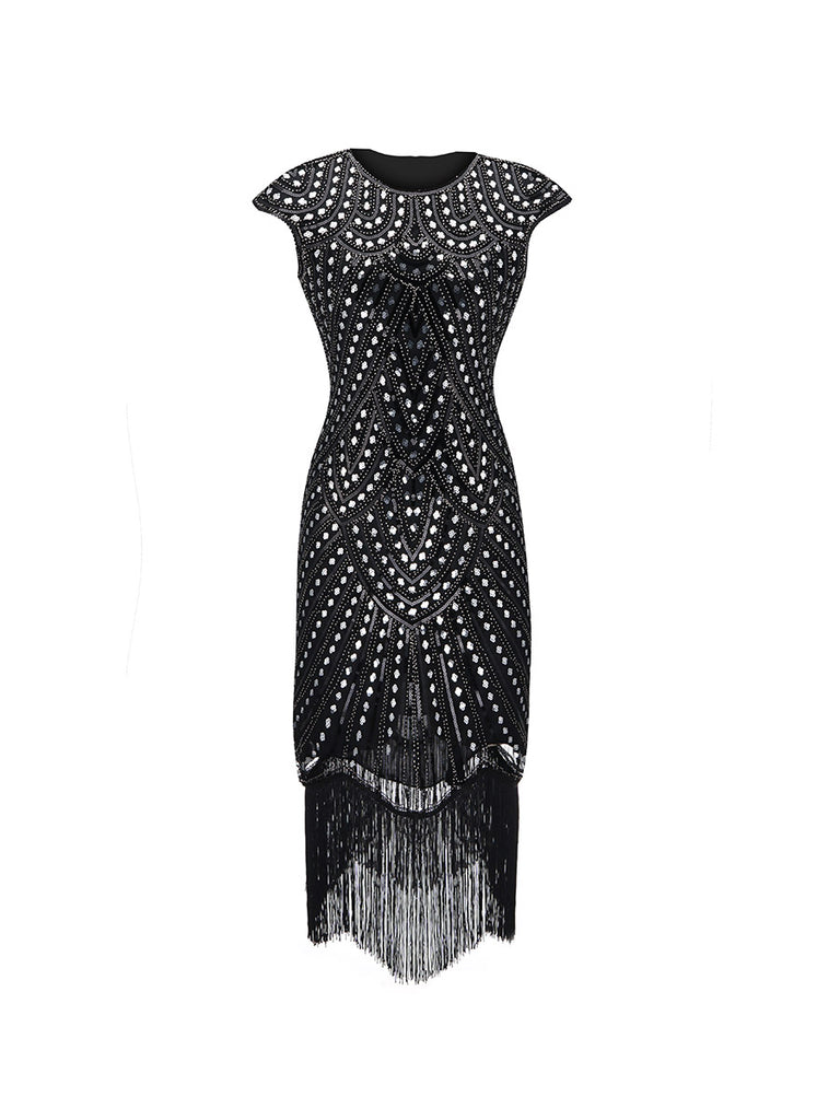 1920 Sequin Dress Retro Tassel Hem Long Evening Dress