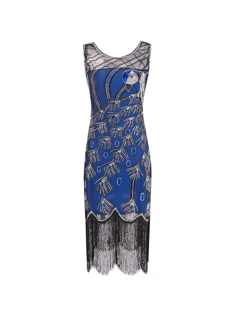 Sequined Dress Crew Neck Sleeveless Peacock Mesh Dress