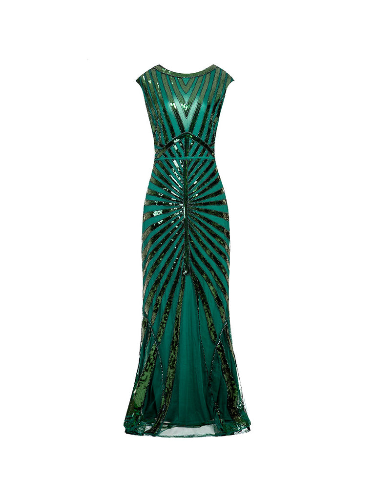 1920s Evening Dress Fishtail Hem Sequined Decoration Long Slim Dress