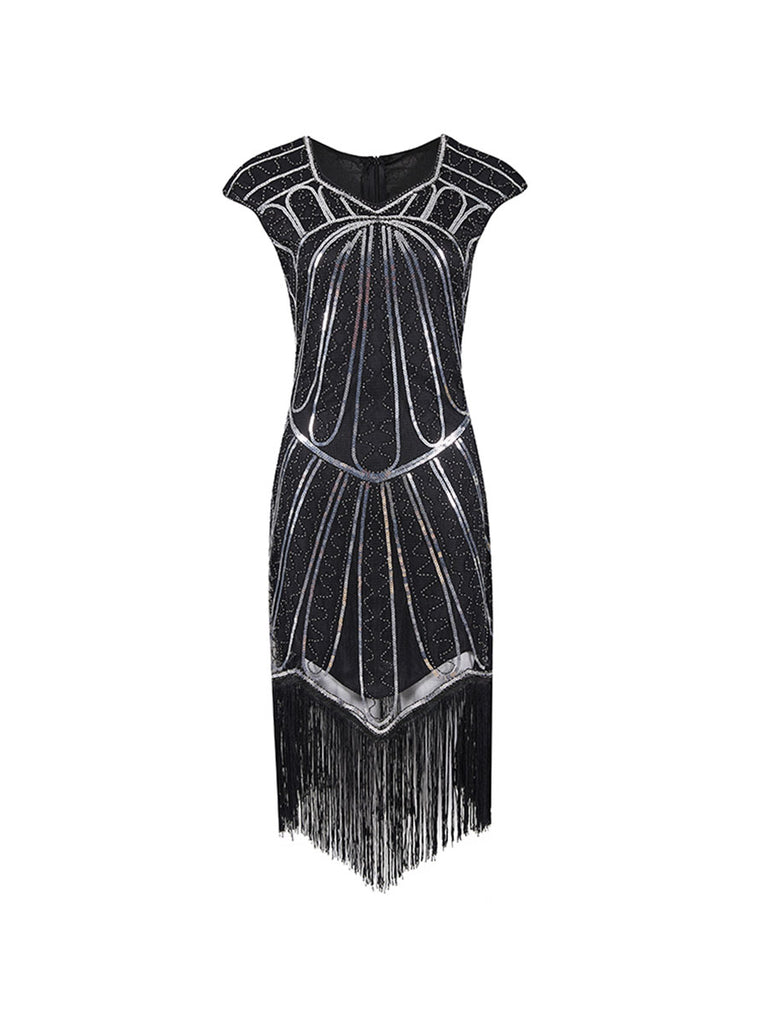 1920s Dress Retro Fringed Hand-knitted Sequin Dress