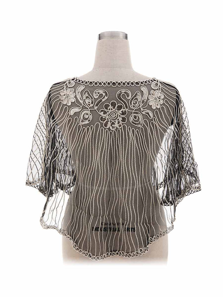 1920s Shawl Vintage Beaded Fringed Cover-Up