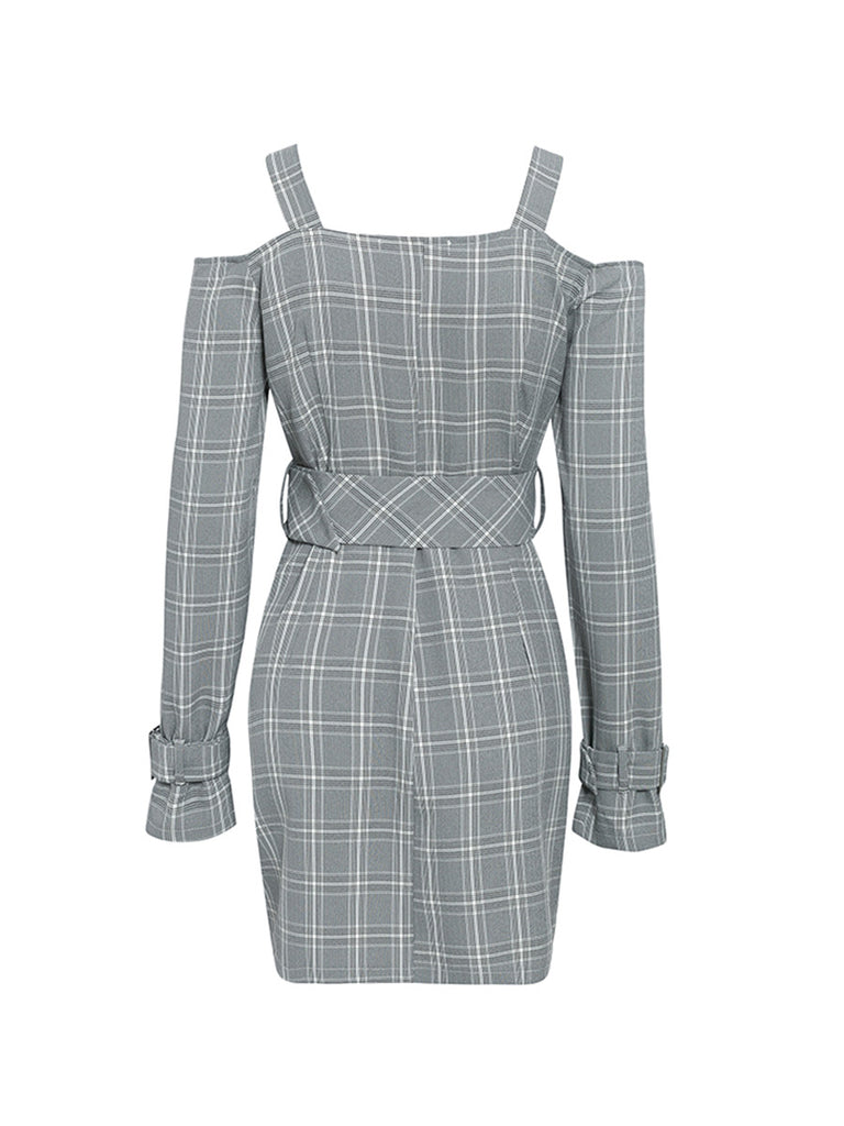 OL Dress V-neck Plaid Sexy Midi Dress with Shoulder Straps and Belt