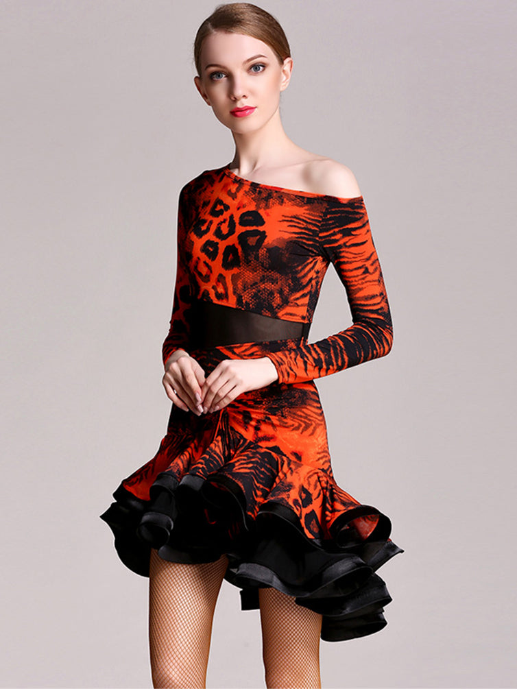 Adult Latin Dance  Round Neck Long Sleeves Flamenco Waltz Tango Dance Costumes