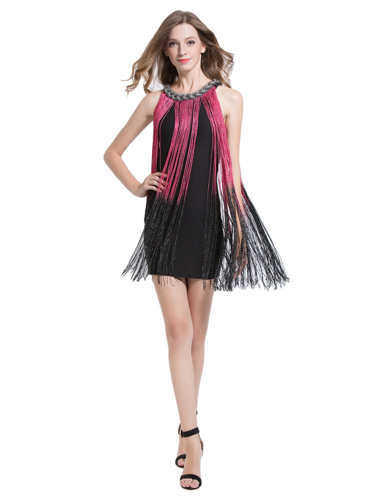 Women's Fringe Latin Halter Dress