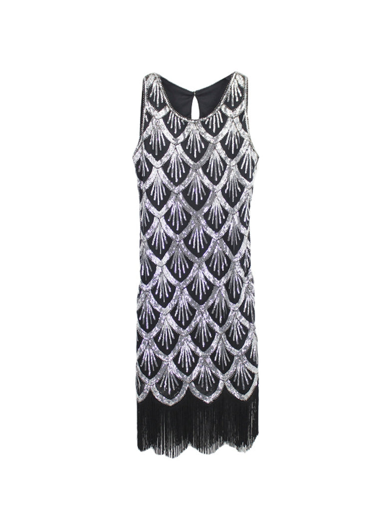 Womens Round Neck Sequin Fringe Latin Dress