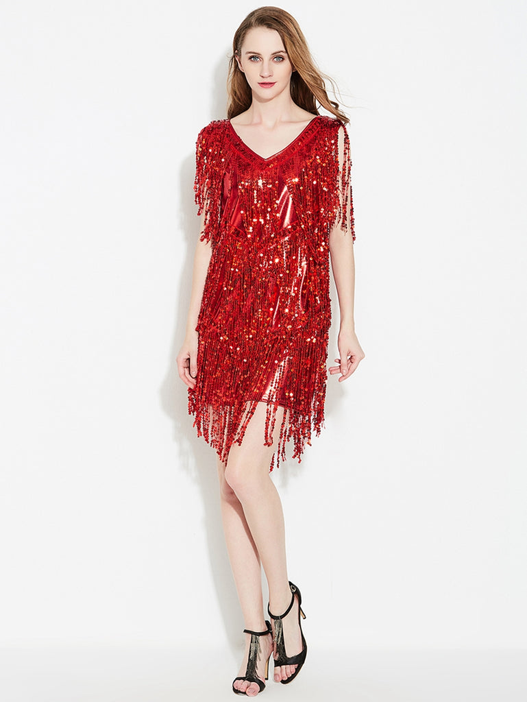 Womens Latin Dress Fringe Made Of Sequins