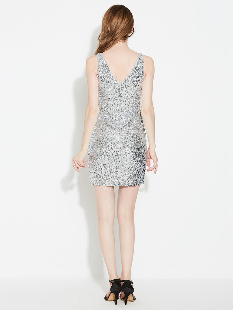 Womens Sexy Sequin Latin Mini Dress