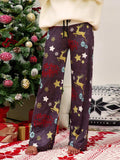 Christmas Trouser Casual Print Stitching Wide Leg Pants