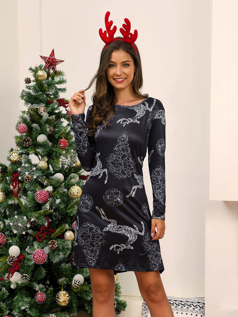 Christmas Dress Long Sleeve Print Silm Fit Dress
