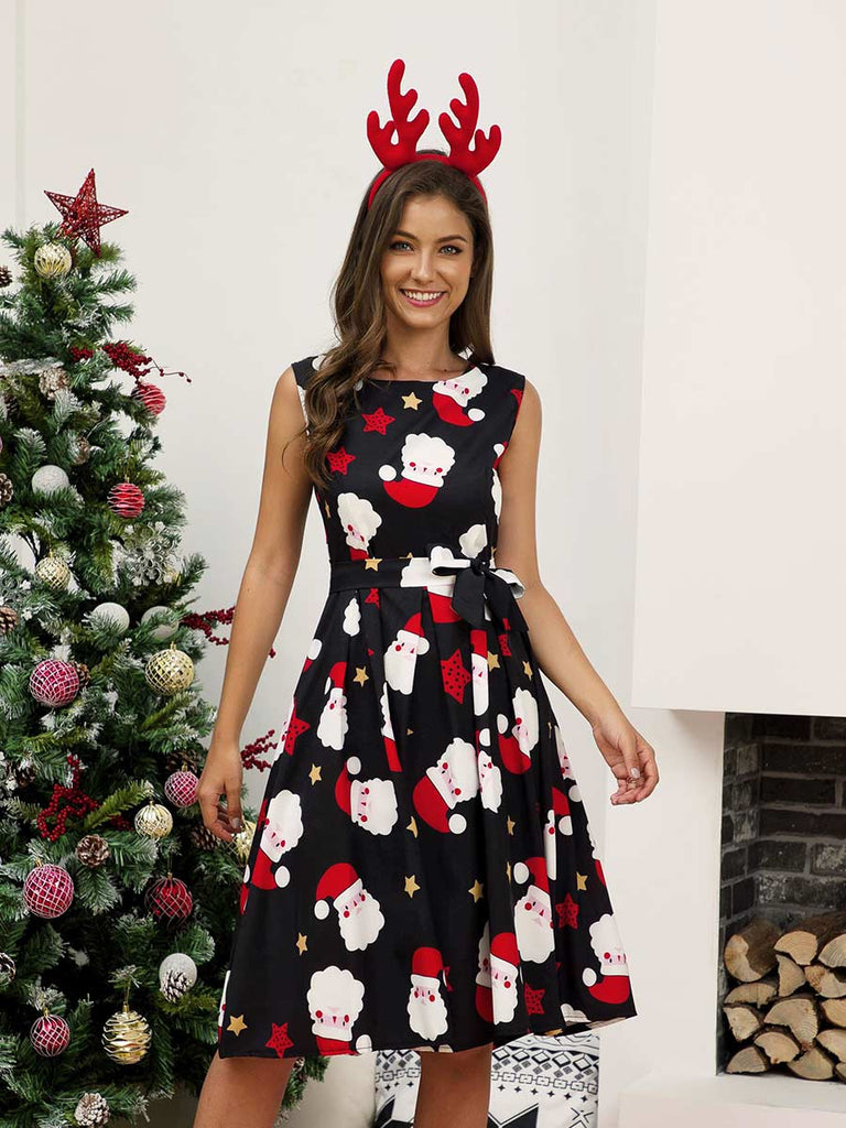 Christmas Dress Crew Neck Sleeveless Print Mini Dress