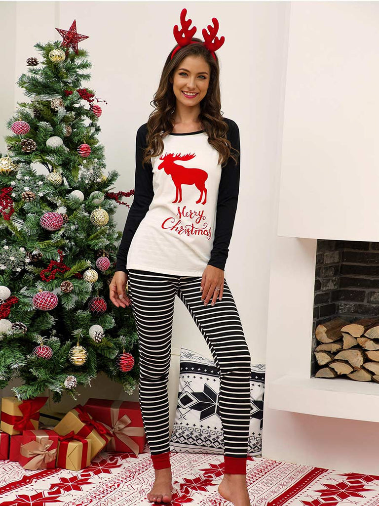 Christmas Suit Casual Long-sleeved Printed Striped Stitching Home Wear