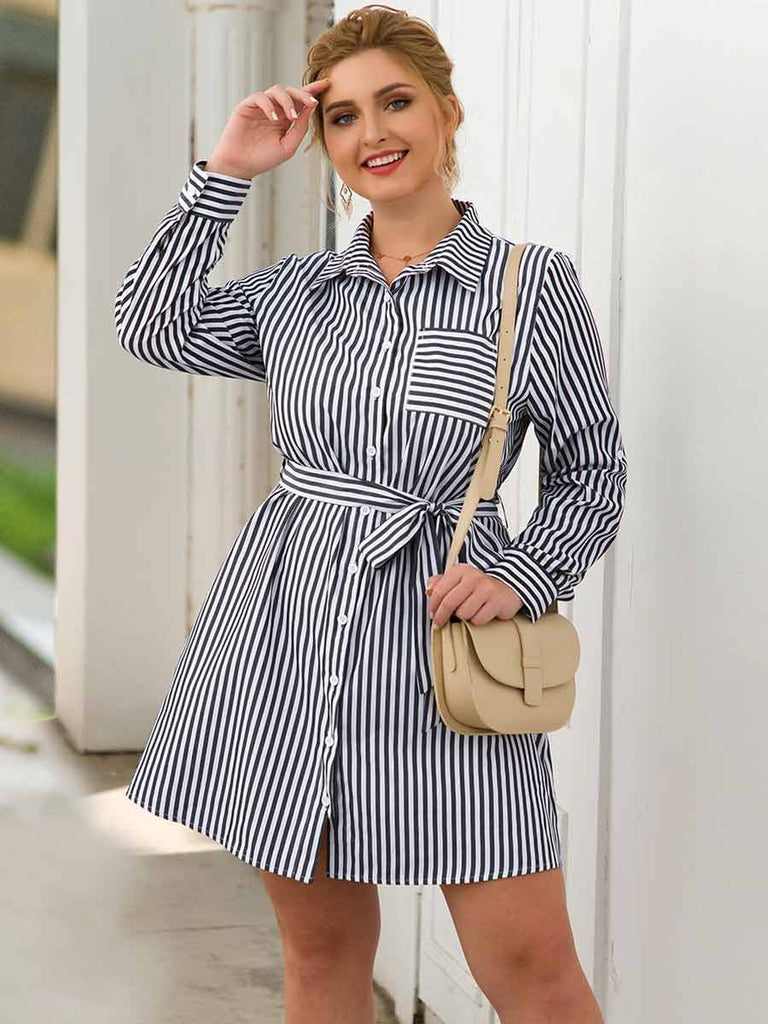 Plus Size Dress Long-sleeved Single-breasted High Waist Striped Dress