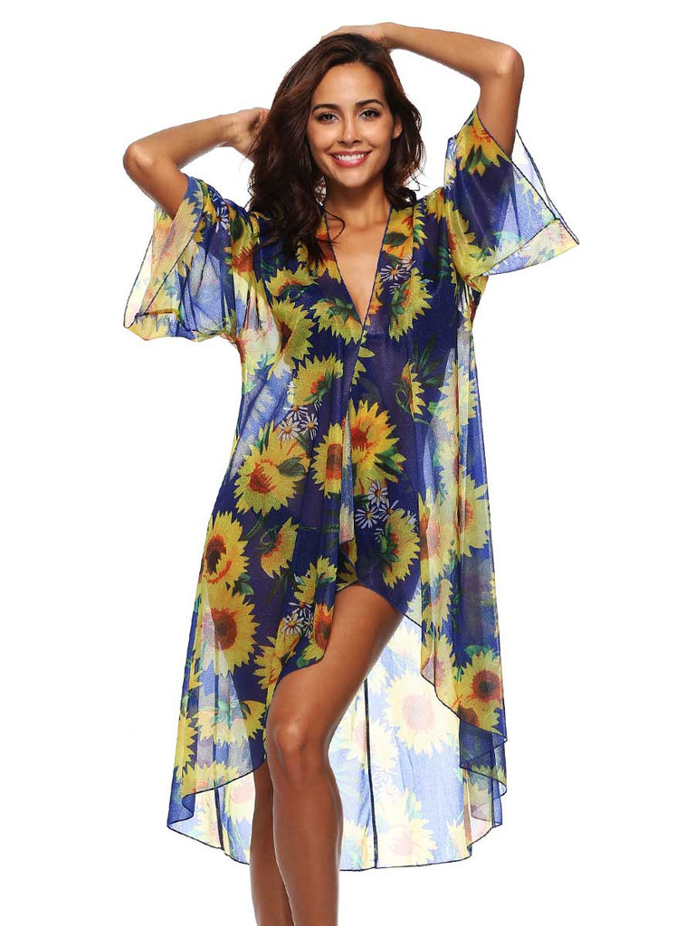 Loose Cardigan Chiffon Sunflower Print Cover-up Boho Swimmear