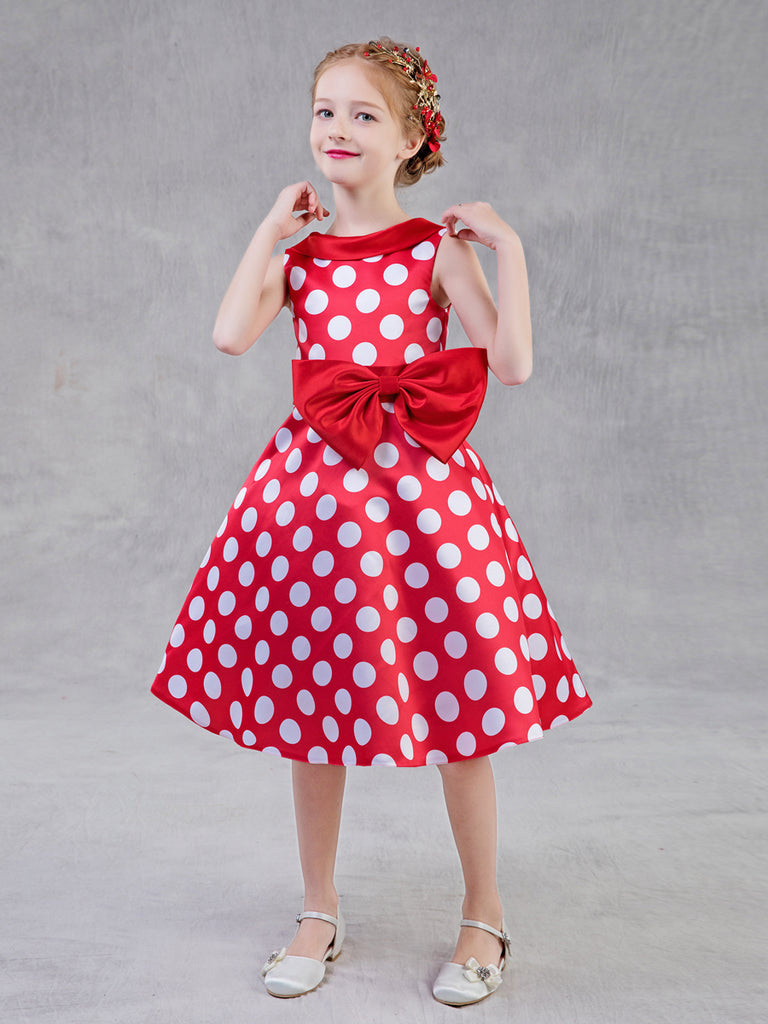 Princess Dress Retro Polka Dot Bow Decor Fashion Dress.