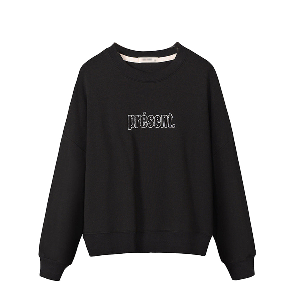 Loose Warm Pullover Crew Neck Long Sleeve Printed Top