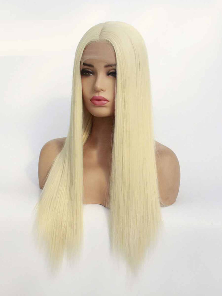 Center Parting Long Blonde Straight Lace Frontal Wig