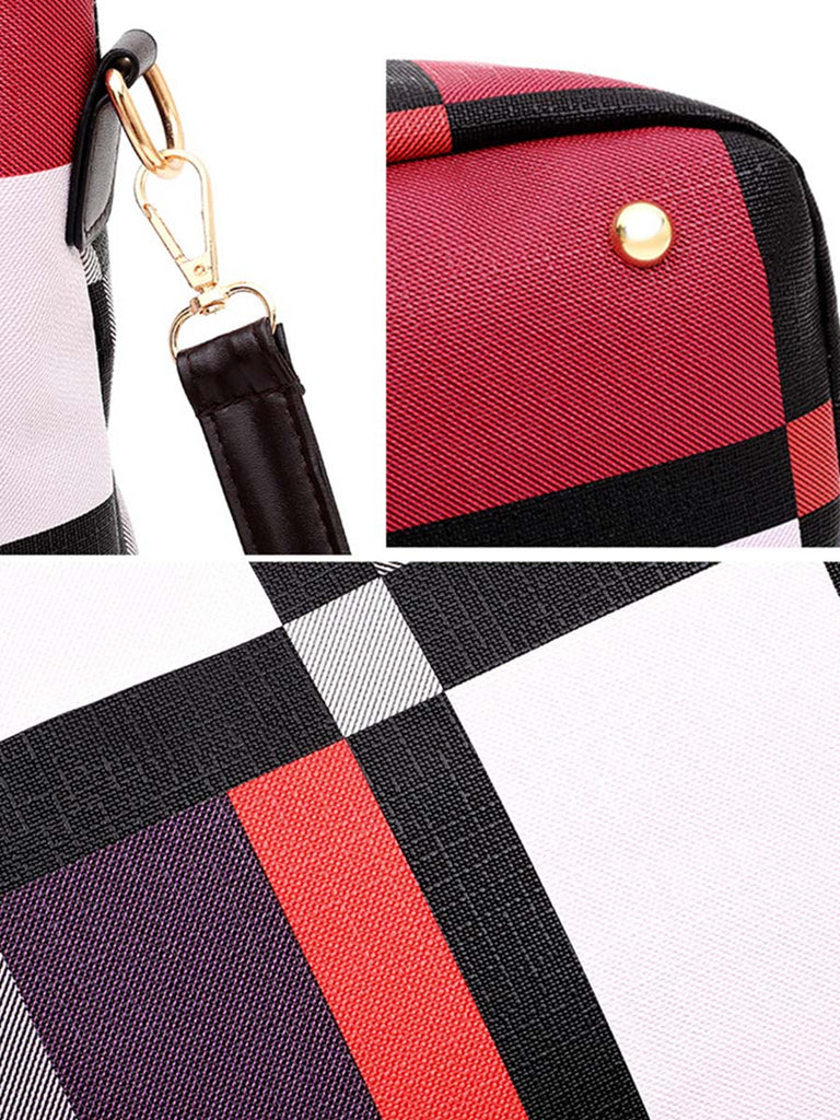 Versatile Stitching Bag Fashion Contrast Color Six-piece