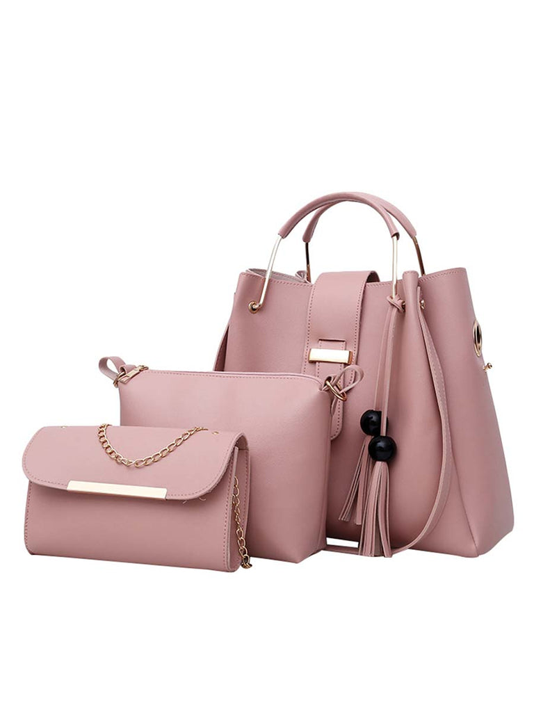 Ladies Bag Fashion Tassel Decoration Three-piece