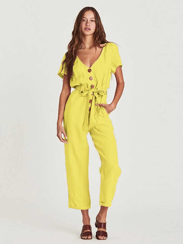 Single-breasted Wild Nine Points Jumpsuit For Women