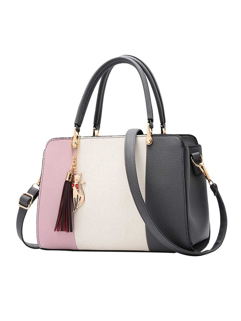 Contrast Color Handbag Soft Square Vertical Bag