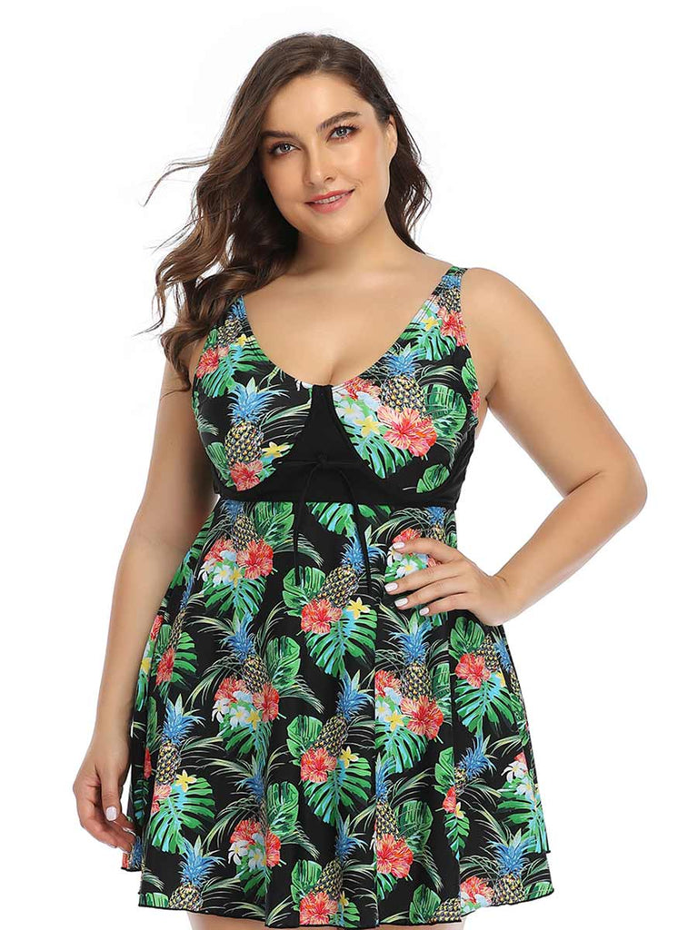 Plus Size Swimsuit Printed Skirt Split Swimsuit