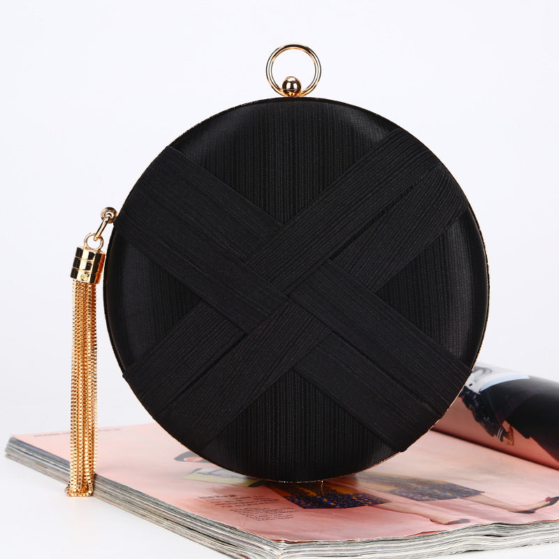 Tassel Hand-striped Small Round Banquet Bag