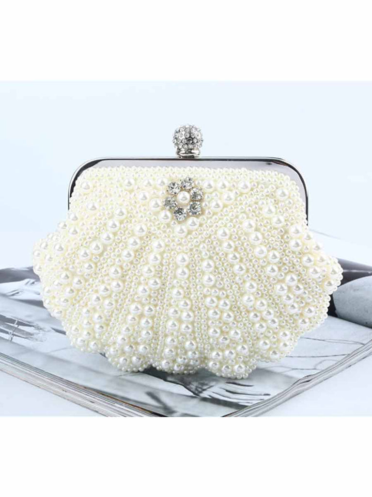 Luxury Shell-shaped Pearl Rhinestone Decoration Dinner Clutch Bag