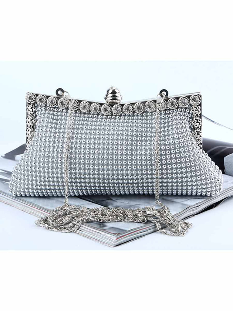 Rhinestone Evening Bag Aluminum Bead Flake Party Clutch Bag
