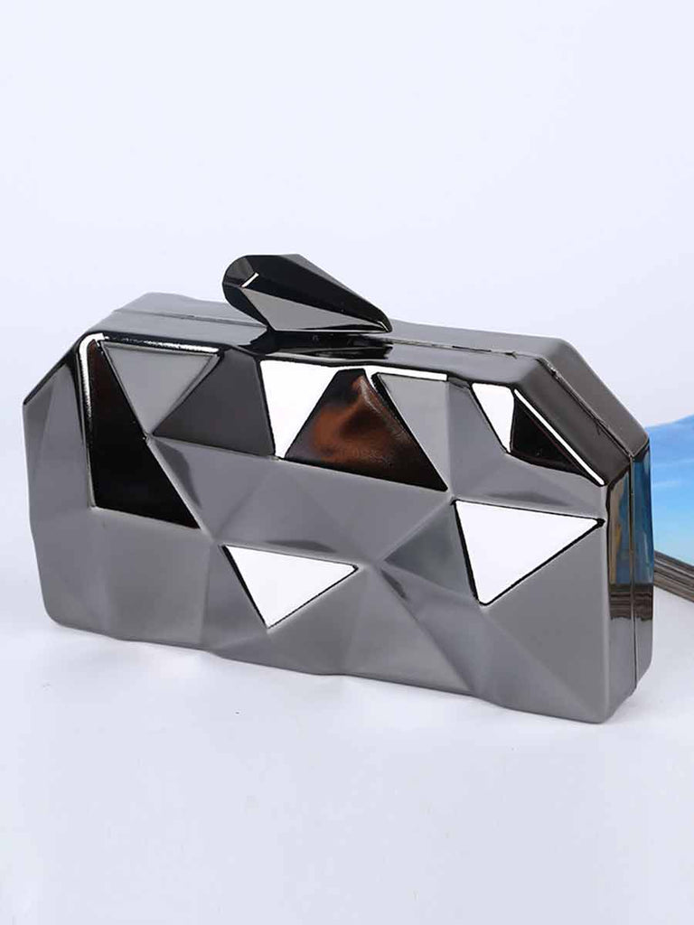 Solid Color Diamond-shaped Iron Box Evening Party Clutch Bag