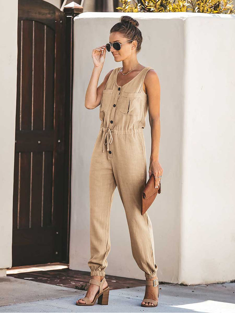 Button Closure Sleeveless V-Neck Elastic Waist Jumpsuit