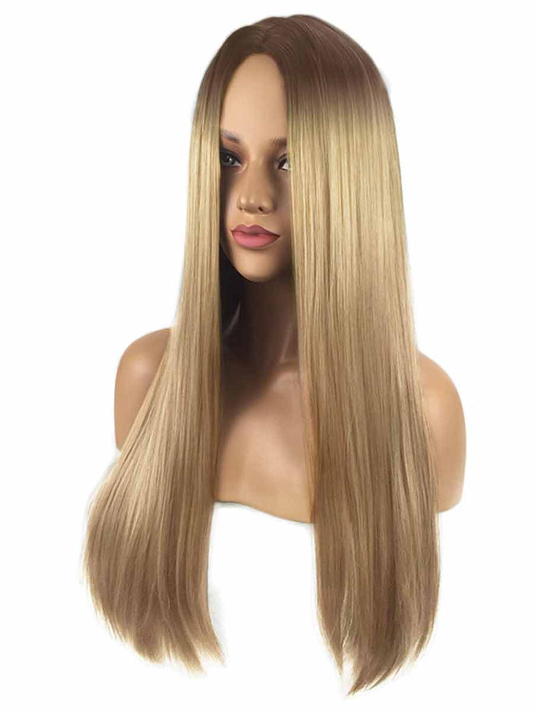 Women Gradient Long Straight Hair Rose Net Wig