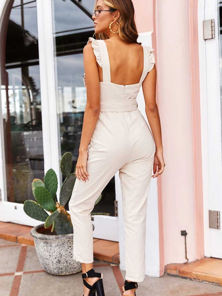 Women Sleeveless Ruffles Shoulder Jumpsuit With Waisted Bowknot