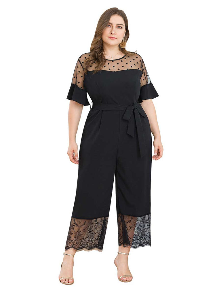 Mesh Lace Splicing Wide Leg Bottoms Black Jumpsuit