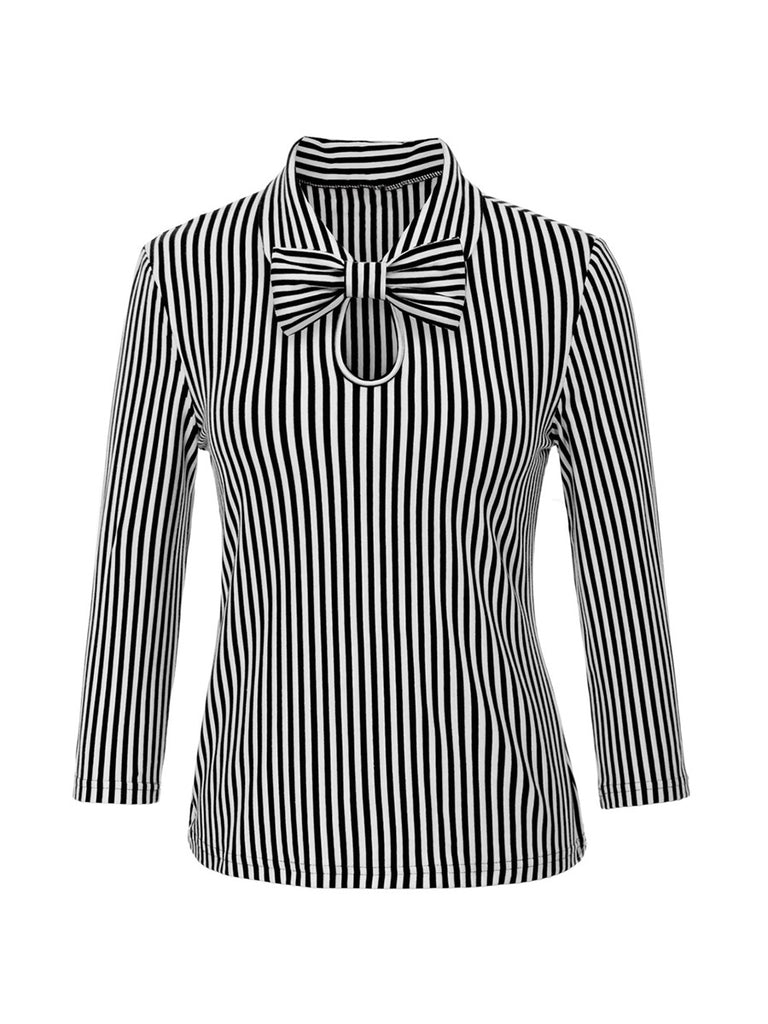 Womens 3/4 Sleeve Vintage Blouse Stretch Stripe Top with Bow Tie