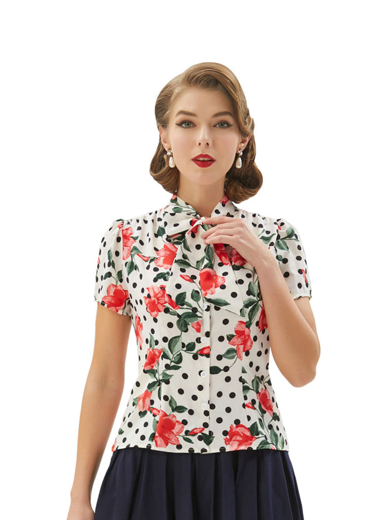 Vintage Floral Blouse Dot Print White Top With Bow Tie