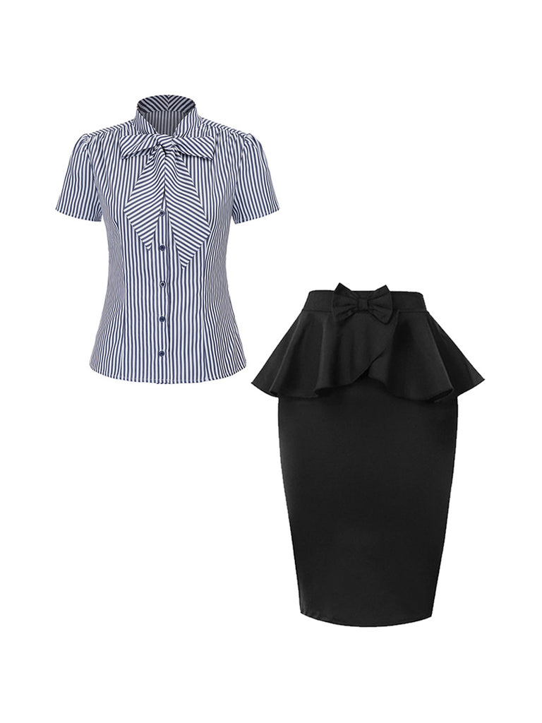 2Pcs Top Seller Striped Self-tie Bow-decor Collar Shirt & Bowknot Ruffles Skirt