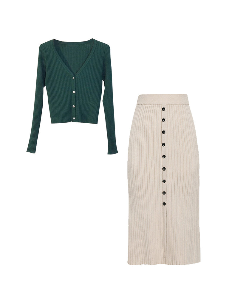 2Pcs Top Seller Long Sleeve Buttons Sweater & Knitted Pencil Midi Skirt