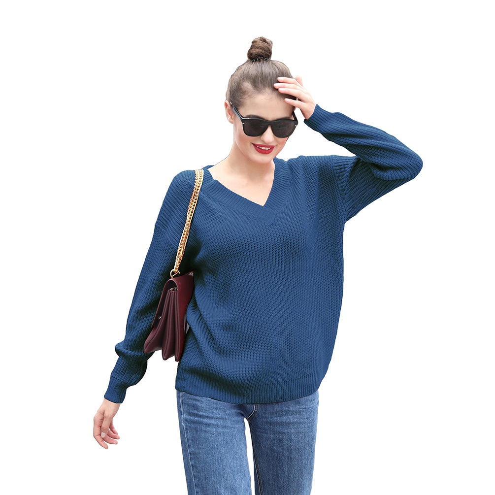 V-Neck Tops Casual Loose Long Sleeve Solid Color Jumper Sweater