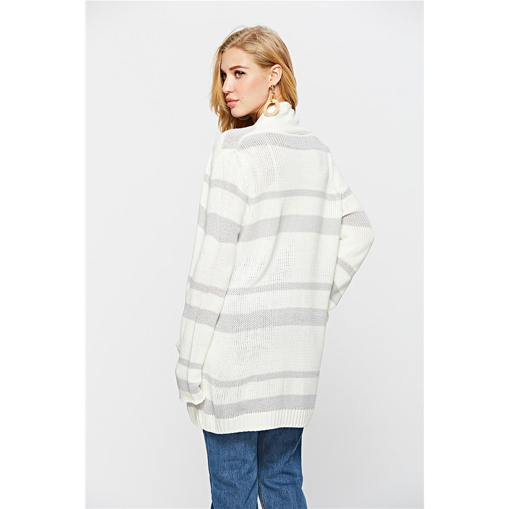Casual Knitted Cardigan Long Sleeve Stripe Knitted Outwear