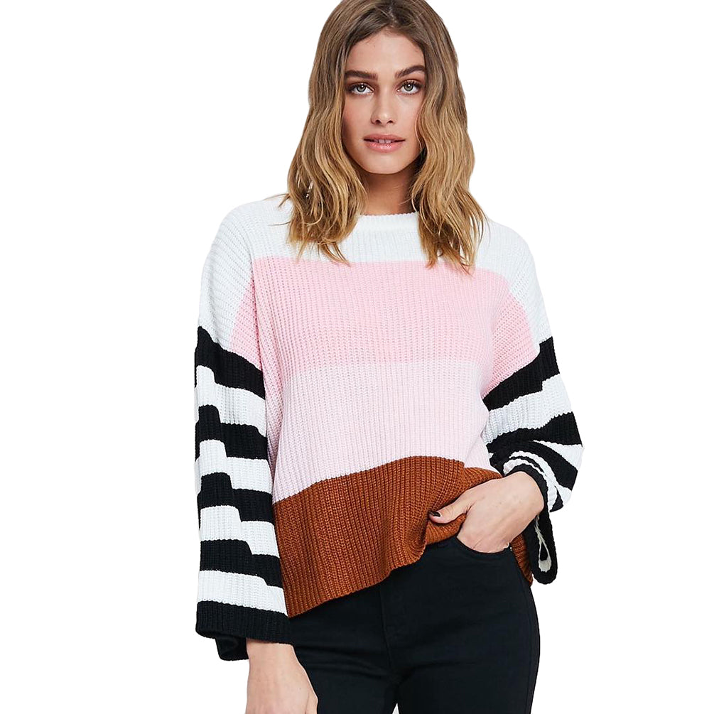 Women Knitwear Cozy Stripe Round Neck Long Sleeve Sweater